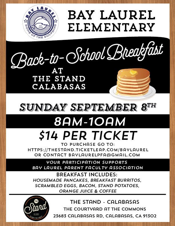 Back-to-School Breakfast Fundraiser for Bay Laurel at The Stand Calabasas -- September 8, 2019